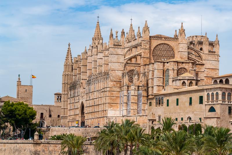 La Seu, domkyrkan av Palma de Mallorca - Balearic Island, Spanien royaltyfri foto
