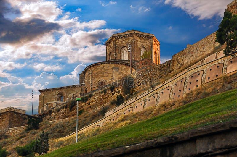 La Seu Vella av LLeida i Spanien arkivbilder