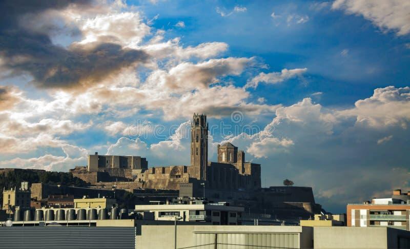 La Seu Vella de LLeida na Espanha fotos de stock royalty free