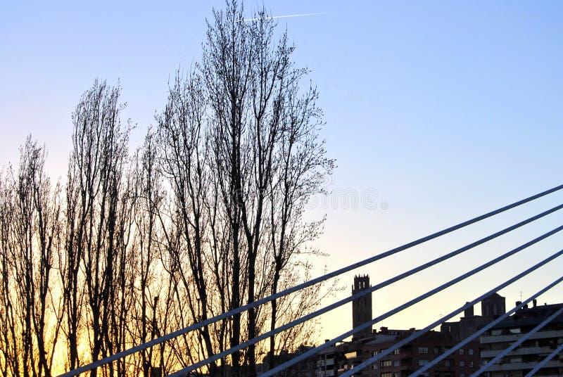 La Seu Vella de Lleida de pont de Princep De Viana images stock