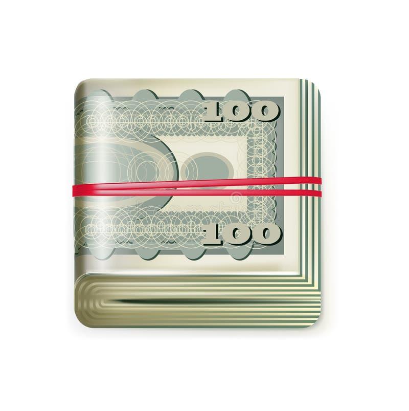 La seule pile d'argent s'est pliée avec une bande élastique d'isolement illustration de vecteur