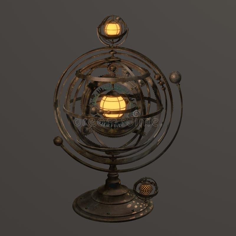 La sfera armillare dello steampunk di fantasia ha disegnato la lampada illustrazione di stock