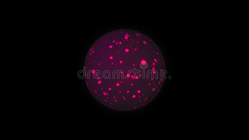 La sfera con le particelle luminose tremule della viola, fondo generato da computer moderno, 3D rende illustrazione vettoriale
