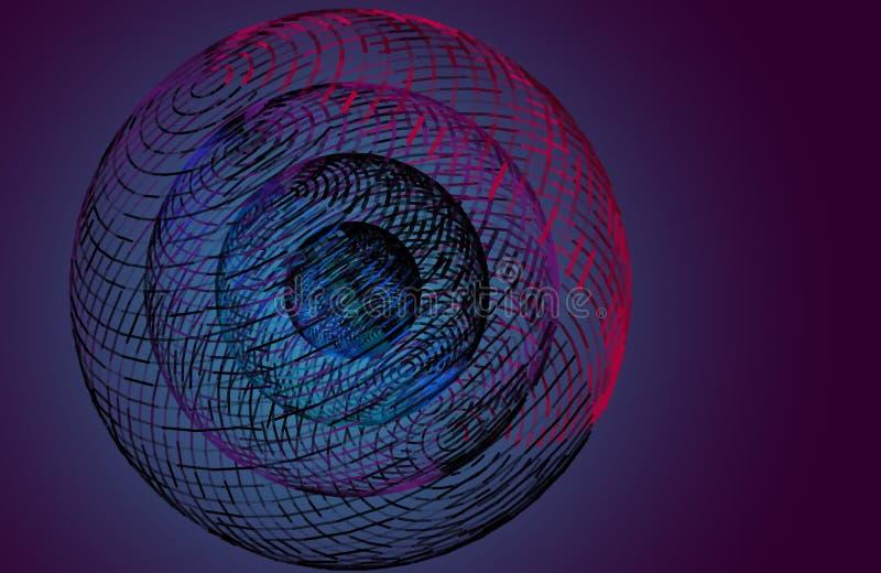 la sfera 3D dalle linee ha collegato la griglia Illustrazione di vettore illustrazione di stock