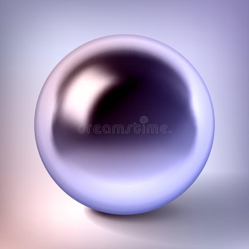 La sfera del cromo di vettore, la palla di metallo lucida, colore della perla, circonda l'oggetto d'argento per voi progettazione illustrazione di stock