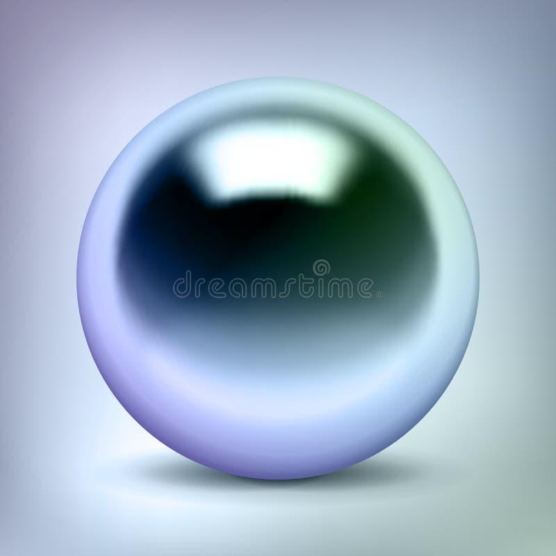 La sfera del cromo di vettore, la palla di metallo lucida, colore della perla, circonda l'oggetto d'argento per voi progettazione royalty illustrazione gratis