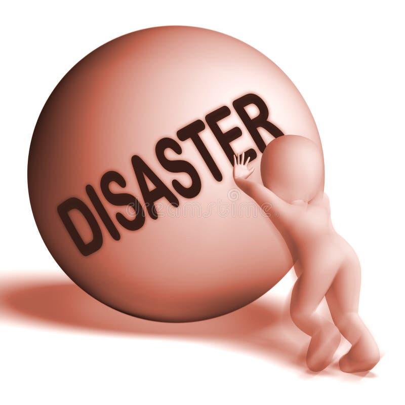 La sfera in salita di disastro mostra la difficoltà o la calamità di crisi illustrazione vettoriale