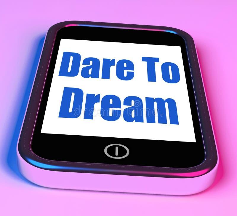 La sfida al sogno sul telefono significa i grandi sogni royalty illustrazione gratis