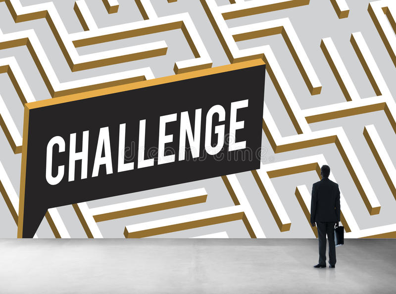 La sfida analizza Maze Concept complicato illustrazione vettoriale