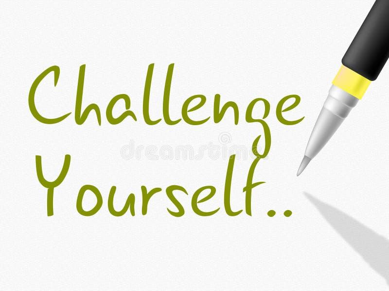 La sfida voi stessi indica la persistenza determinata e motiva illustrazione di stock