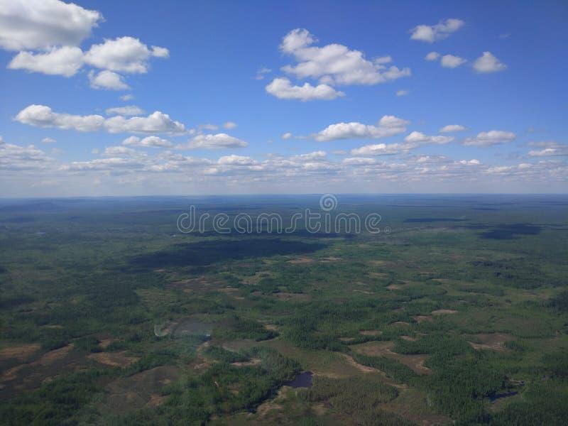 La Siberia dall'elicottero fotografia stock