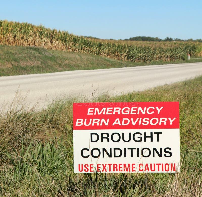 La siccità condiziona il segno consultivo fotografia stock