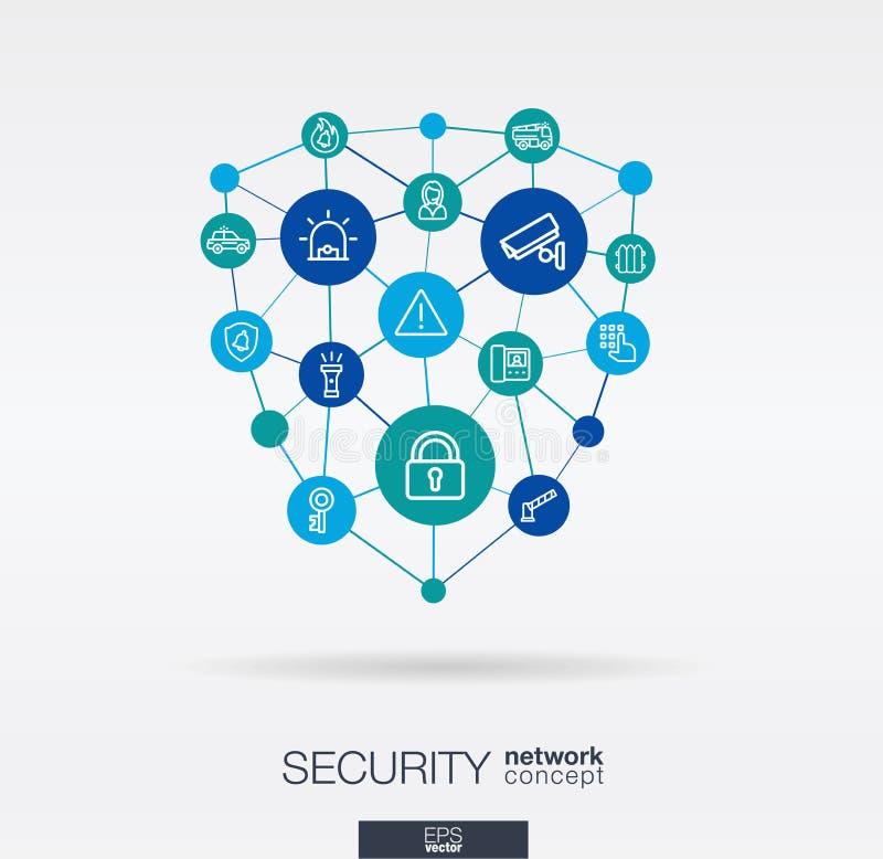 La sicurezza, controllo di accesso ha integrato la linea sottile icone Concetto della rete neurale di Digital illustrazione vettoriale