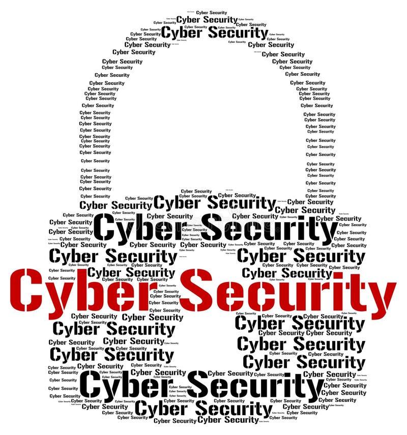 La sicurezza cyber indica il World Wide Web e la ricerca illustrazione di stock