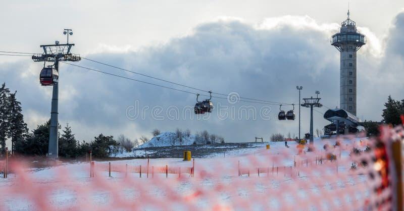 La sicurezza dello sci recinta l'inverno fotografie stock libere da diritti