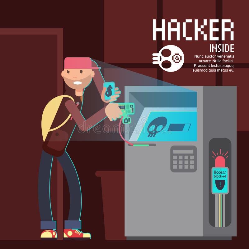 La sicurezza ed il crimine informatico del computer vector il concetto con il carattere del pirata informatico del fumetto illustrazione vettoriale