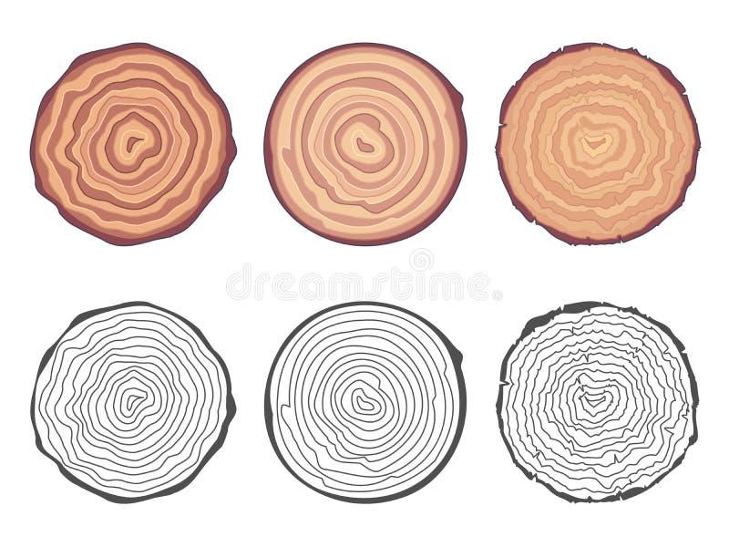 La sierra natural del fondo de los anillos de árbol cortó el ejemplo decorativo del vector del sistema de elementos del diseño de libre illustration