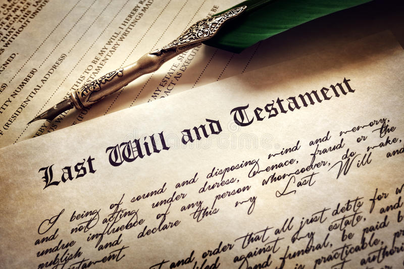 La sign l'ultima volta e testamento immagine stock