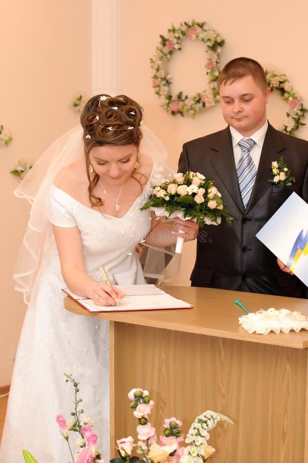 La signature de mariage photo libre de droits