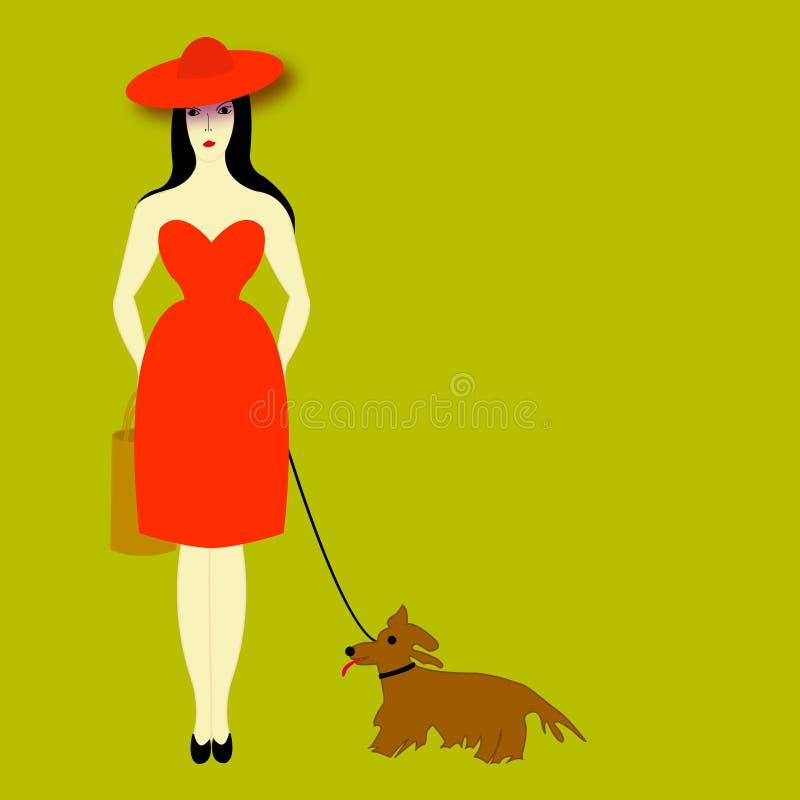 La signora con un cane illustrazione di stock