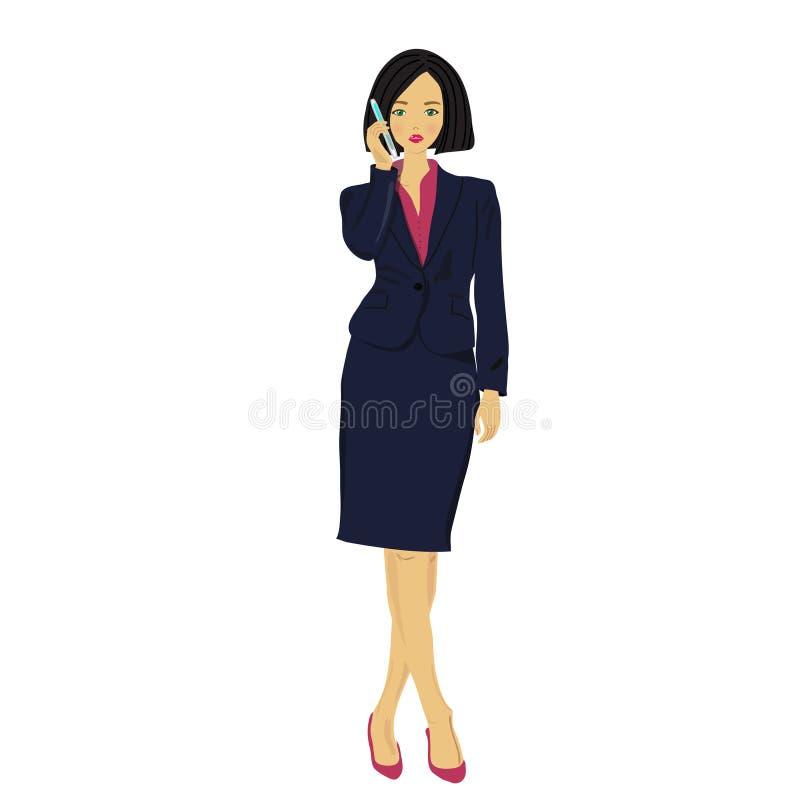 La signora di affari ha detto dal telefono delle cellule illustrazione di stock