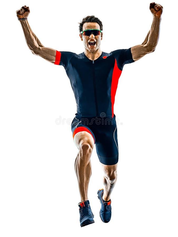 La silhouette courante de coureur de triathlon de Triathlete a isolé b blanc photos stock