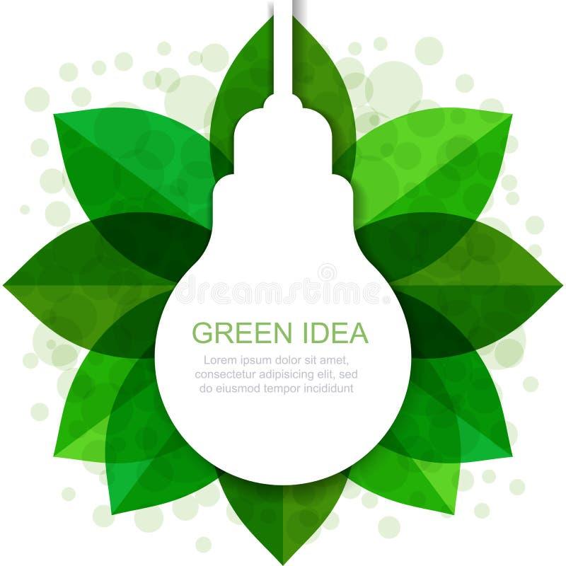 La silhouette d'ampoule avec le vert part du cadre Illustrati de vecteur illustration de vecteur