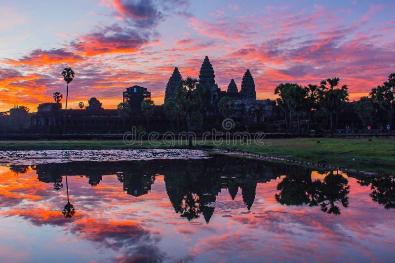 La silhouette d'Angkor Vat avant lever de soleil photo libre de droits
