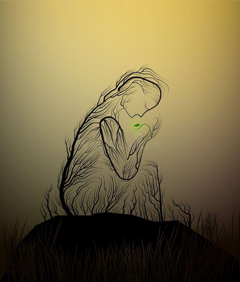 La silhouette d'arbre comme une femme dans le désert, arbre ressemble à une femme tenant les dernières feuilles vertes, sécheress illustration de vecteur