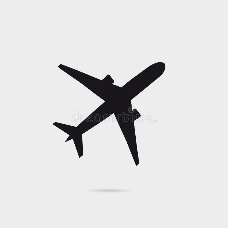 La silhouette d'avion avec peu d'ombre, peut être employée comme affiche noire illustration stock