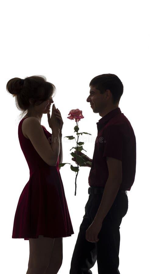 La silhouette d'un jeune couple dans l'amour sur le fond d'isolement blanc, homme donne à une femme une fleur rose, amour de conc photo stock