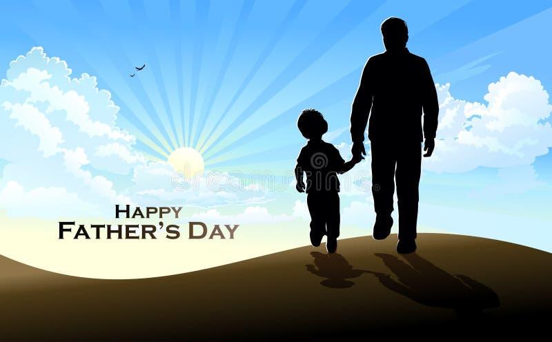 La silhouette d'un père et d'un fils entrant dans le lever de soleil illustration libre de droits