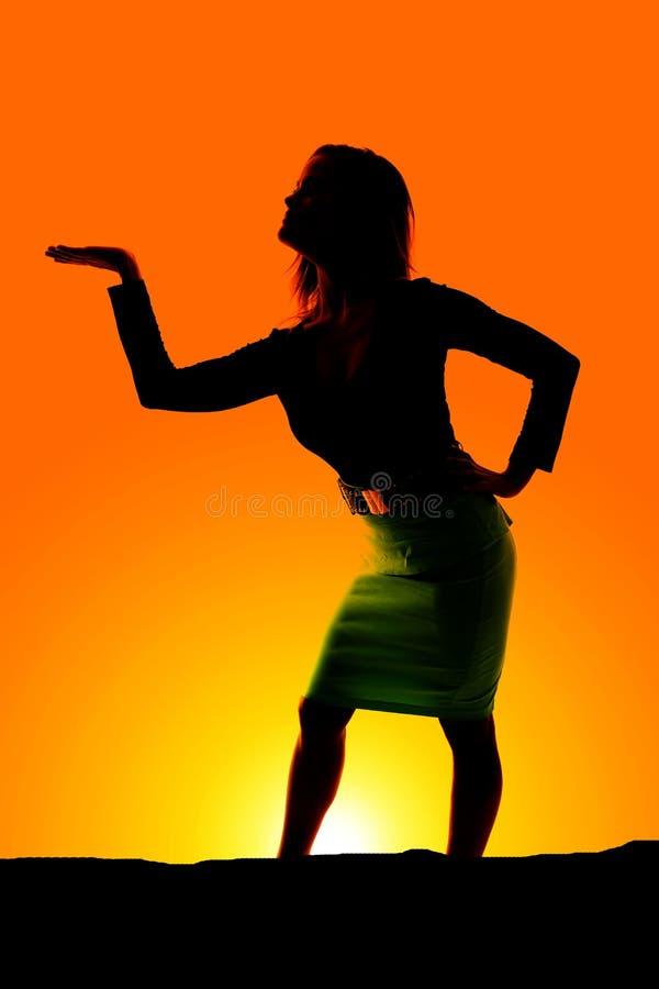 La silhouette d'une femme dans la robe distribuent photos stock