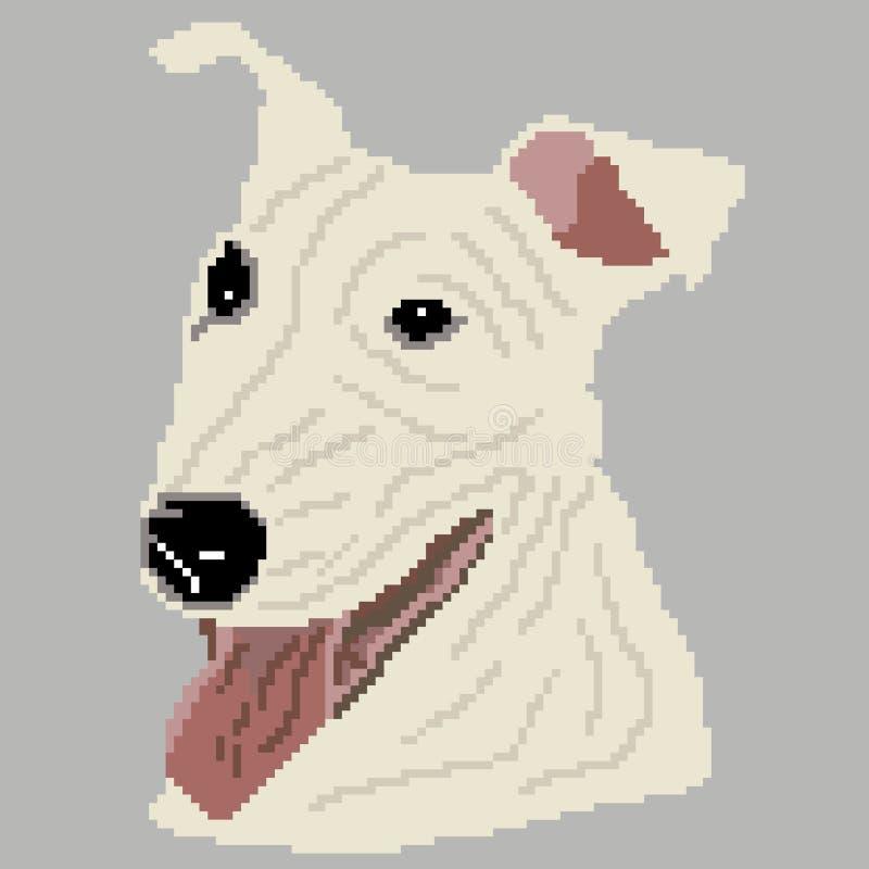 La silhouette d'une race blanche de chien que Pit Bull Terrier est le visage, la tête est dessinée sous forme de places, pixels illustration de vecteur