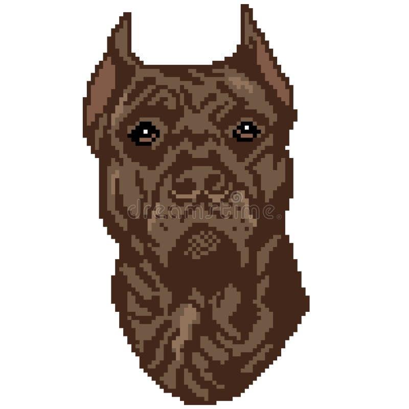 La silhouette d'une race brune de chien que le Staffordshire Terrier est un visage, la tête est dessinée sous forme de places, pi illustration de vecteur