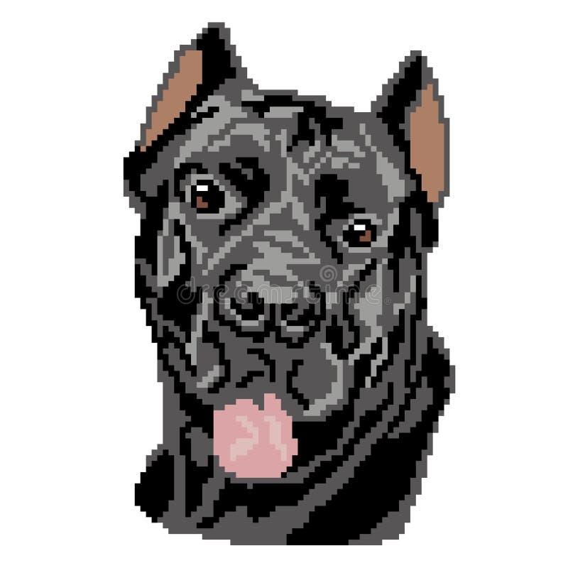 La silhouette d'une race de chien noir que Cane Corso est un museau, la t?te est dessin?e sous forme de places, pixels illustration stock
