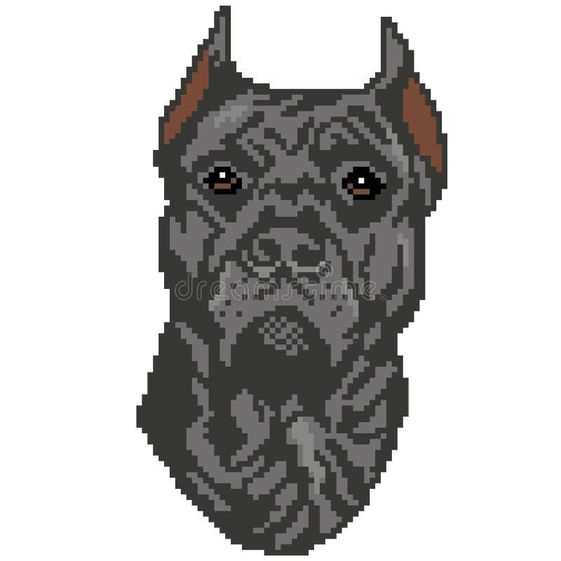 La silhouette d'une race grise de chien que le Staffordshire Terrier est un visage, la tête est dessinée sous forme de places, pi illustration stock