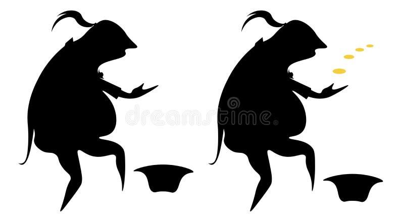 La silhouette de caricature d'un pauvre acteur dans un manteau de robe, priant avec des pièces de monnaie et sans elles illustration libre de droits