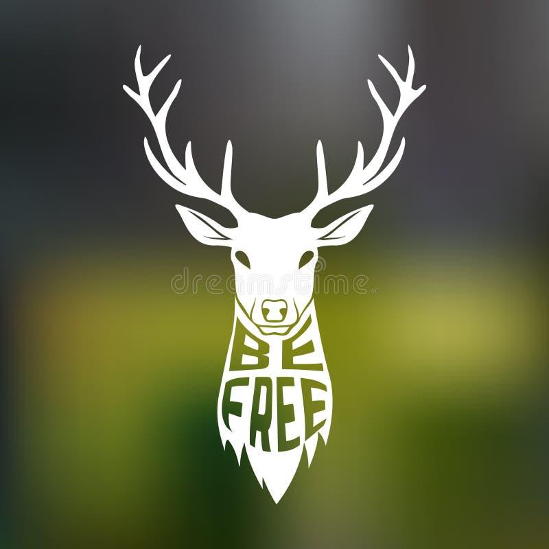 La silhouette de concept des cerfs communs se dirigent avec le texte à l'intérieur illustration libre de droits