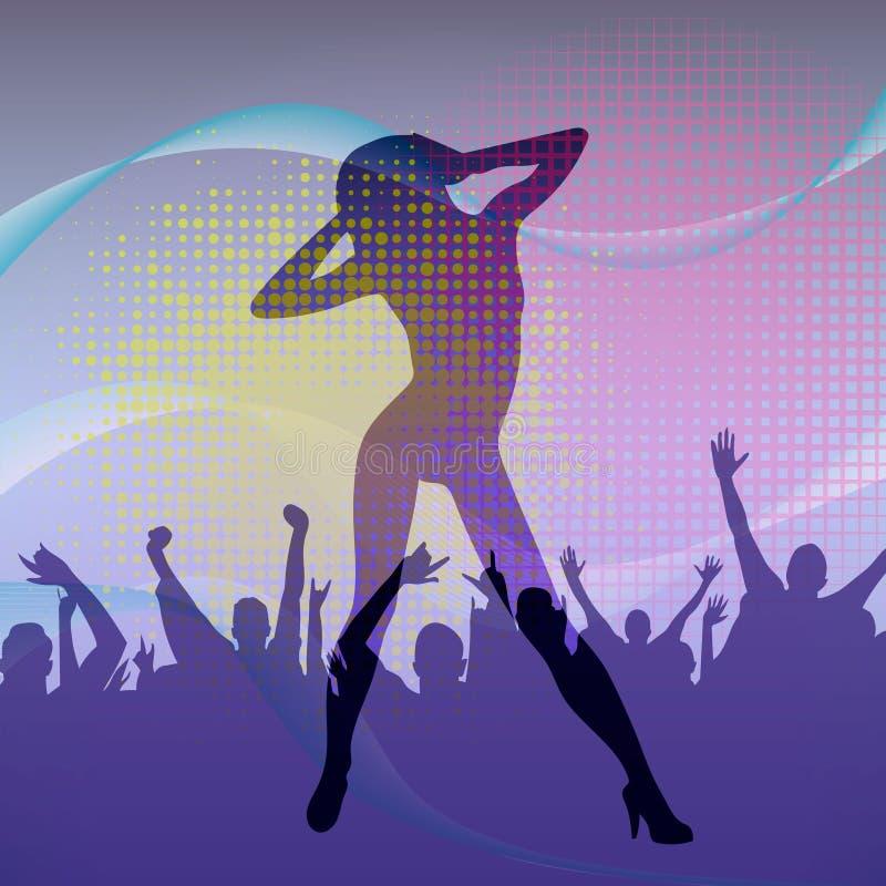 La silhouette de fille de danse dans la boîte de nuit avec la foule de danse Illustration de vecteur illustration de vecteur