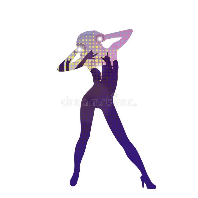 La silhouette de fille de danse dans la boîte de nuit Illustration de vecteur illustration stock