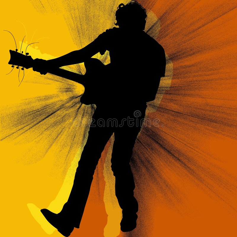 La silhouette de guitariste illustration de vecteur