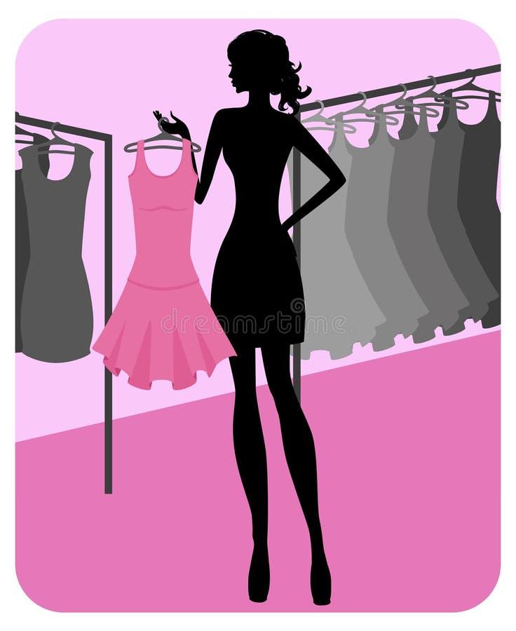La silhouette de la belle fille choisit des vêtements illustration stock