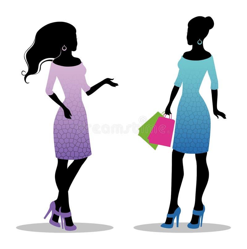 La silhouette de la femme avec des sacs illustration libre de droits