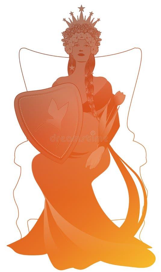 La silhouette de la reine avec de longues tresses et ?toiles, sur un tr?ne, tenant un bouclier et un sceptre a form? comme une tu illustration libre de droits