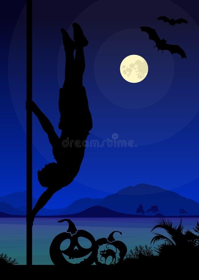 La silhouette de style de Halloween du poteau de exécution de danseur masculin de poteau se déplace devant la rivière et la plein illustration de vecteur