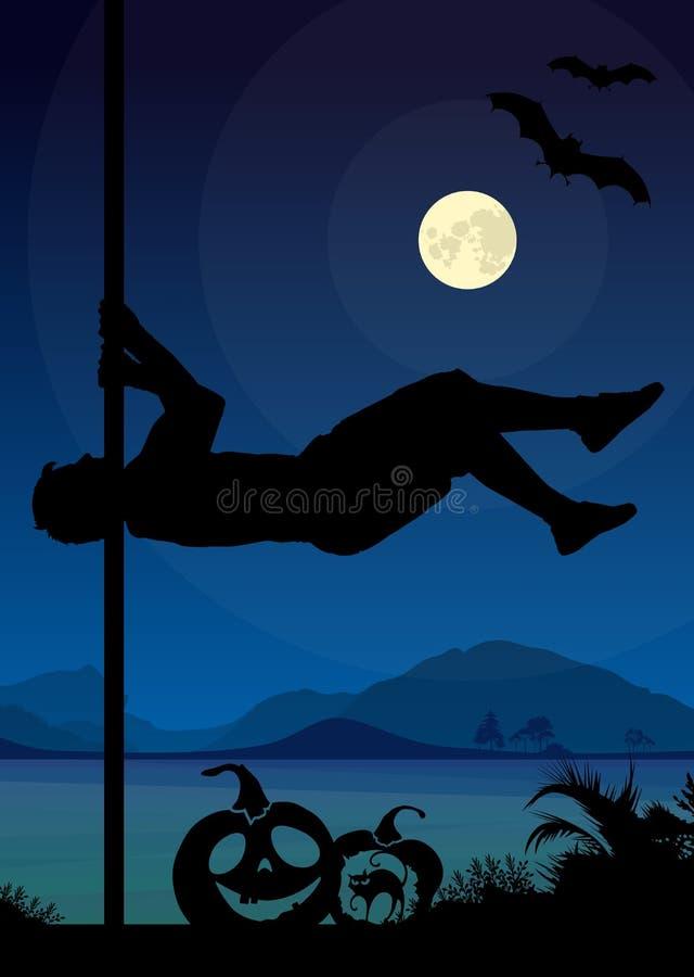 La silhouette de style de Halloween du poteau de exécution de danseur masculin de poteau se déplace devant la rivière et la plein illustration stock