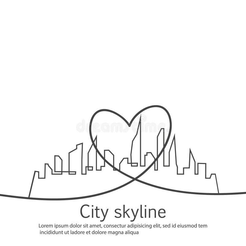 La silhouette de la ville et le coeur et l'amour dans le dessin continu raye dans un style plat Horizontal urbain moderne Vecteur illustration libre de droits
