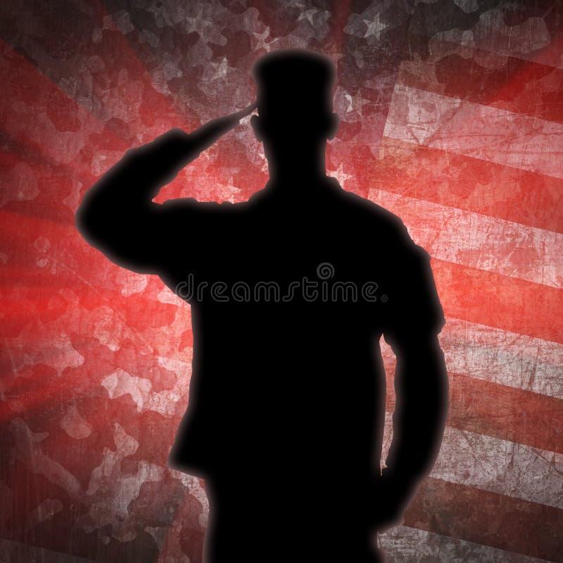La silhouette du soldat de salutation sur une armée camouflent le fond illustration stock