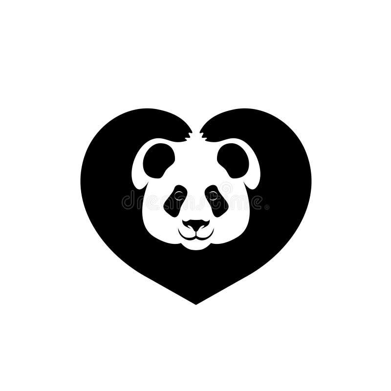 La silhouette du visage des pattes de panda montre le coeur de signe illustration de vecteur